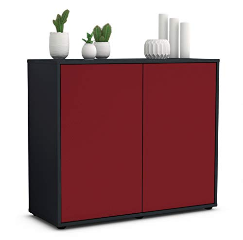 Stil.Zeit Sideboard Blanka/Korpus anthrazit matt/Front Bordeaux (92x79x35cm) Push-to-Open Technik