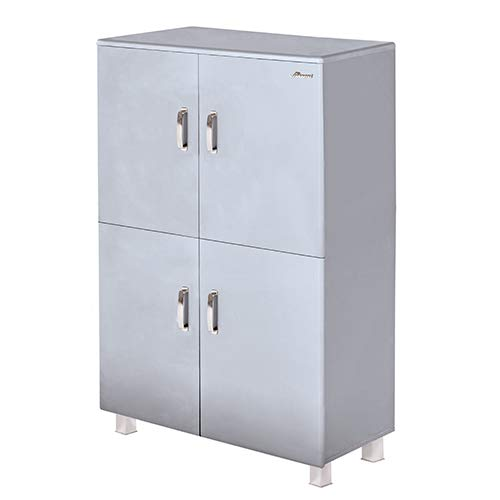 Miami Highboard mit 4 Türen und Soft-Close, Holz, hellgrau metallic, 42.9 x 110 x 150 cm