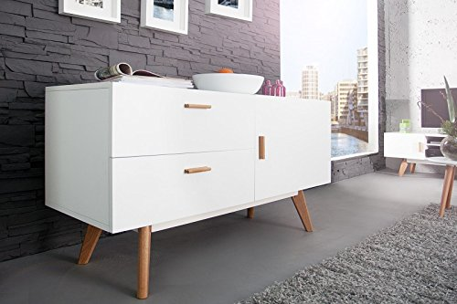 DuNord Design Sideboard Stockholm 120cm Weiss Eiche Design Regal Anrichte