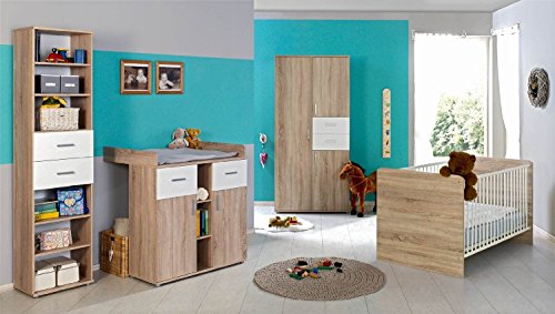 Babyzimmer Kinderzimmer komplett Set ELISA 2 in Eiche Sonoma Weiß, Komplettset mit Kleiderschrank Babybett Lattenrost Wickelkommode Wickelaufsatz Standregal, Made in Germany