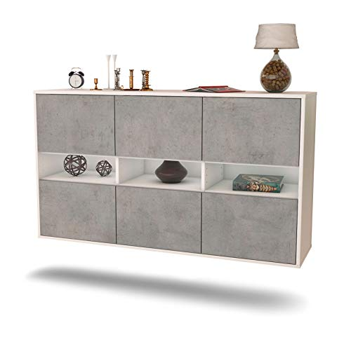 Dekati Sideboard Rockford hängend (136x77x35cm) Korpus Weiss matt | Front Beton Optik | Push-to-Open