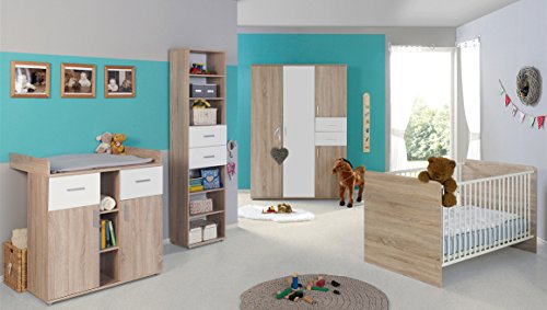 / Kinderzimmer Set ELISA 4 in Eiche Sonoma Weiß Komplettset mit grossem 3-türigen Kleiderschrank Babybett Lattenrost Wickelkommode Wickelaufsatz Standregal Made in Germany