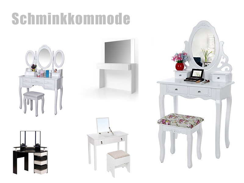 schminkkommode mit spiegel in wei. Black Bedroom Furniture Sets. Home Design Ideas